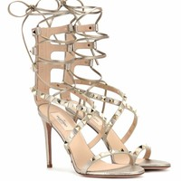 Rockstud metallic leather sandals