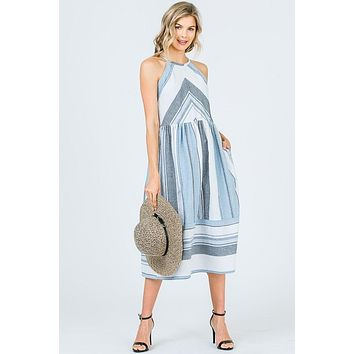 Summer Striped Midi Dress - Blue and White