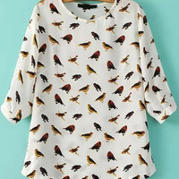 White Birds Print Half Sleeve Blouse