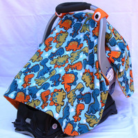 Boys Baby Car Seat Cover with Dinosaurs All Over, Baby Shower Gift, Infant Car Seat Canopies, Baby Car Seat Cover