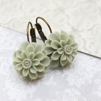 Sage Green Flower Earrings Lever Back Lightweight Drop Earrings Chrysanthemum Bridesmaids Gift Womens Gift Nickel Free Gift Under 25