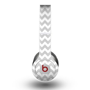 The Gray & White Chevron Pattern Skin for the Beats by Dre Original Solo-Solo HD Headphones