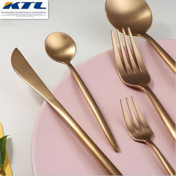 KuBac 30 Pcs Rose Gold Stainless Steel Dinnerware Fork Knife Scoops Dessert forks Cutlery Set Tableware For Party