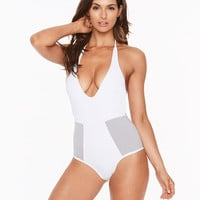 L*Space Color Block Fireside One Piece Swimsuit - White