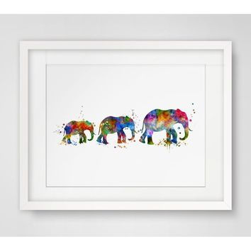 Elephant Family Art Print Watercolor Wall Hanging Elephant Watercolor Handmade Elephant  Art Paper  Nursery Poster Watercolor El