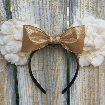 White Floral Minnie Mouse ears