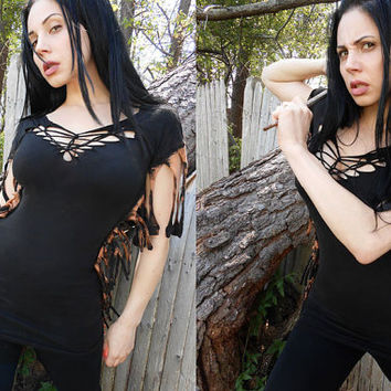 Grunge Post Apocalyptic Deconstructed Goth Zombie Shredded Industrial Boho Dress