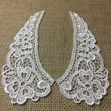 """3.225""""x7.5"""", Soft Light Floral Peter Pan Applique Collar Pair For Shirt, Dresses, and More."""