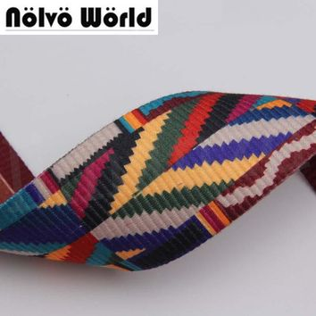 10yards 52mm wide 2.2mm thick cotton multi-color ribbon jacquard webbing ribbon tape bag straps belt waistband webbing