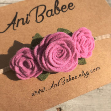 Pink Felt Flower Headband, Felt Flower Crown Headband, Felt Baby Headbands, Felt Flowers, Flower Headband