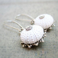 Sea Urchin Collection Special White Earrings by StaroftheEast