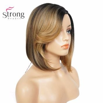 Synthetic Wig Strawberry Blonde Two-color Ombre Medium Bob Hairstyle