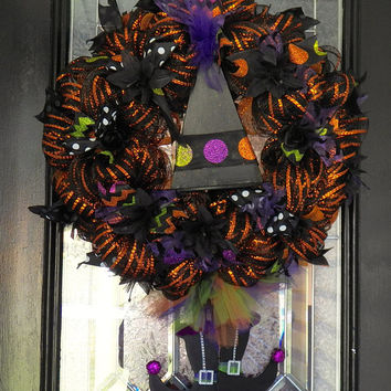 Halloween Wreath, Witch Door Hanger, Fall Wreath, Halloween Decoration, Ready to Ship