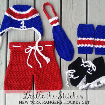 Newborn Baby Hockey Set, New York Rangers Hockey Set, Crochet Hockey Set