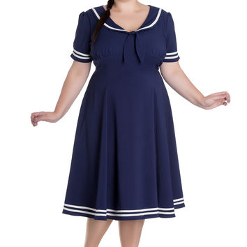 Hell Bunny Ambleside Nautical Navy Sailor with Bow tie Ambleside Dress