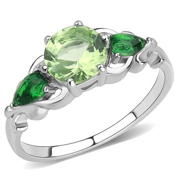 WildKlass Stainless Steel Ring No Plating Women Synthetic Peridot