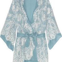Jenny Packham | Chantilly lace and silk-chiffon robe | NET-A-PORTER.COM