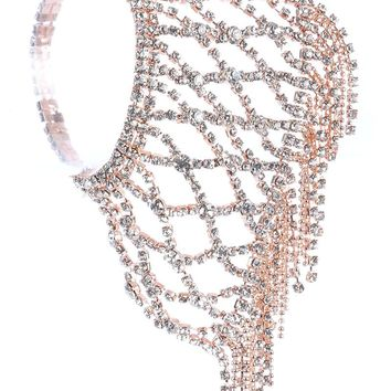 Clear Rhinestone Ball Chain Fringe Stretch Bracelet