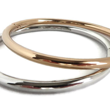 MILOR Stainless Steel Hinged Bangle Set, Gold Tone Silver Tone Oval Bracelets