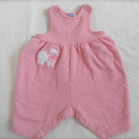 Vintage Baby Girls and Toddler Jumper All in One Size 9 Months Gently Used Baby Clothing Pink Lamb Applique Baby Outfit Snaps On