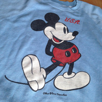 Amazing 1980s Vintage Mickey Mouse USA Crew Neck / XL / Sherry Clothing