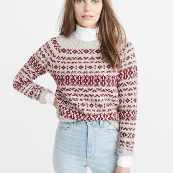 Womens Fair Isle Crew Sweater | Womens New Arrivals | Abercrombie.com