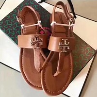 Tory Burch Women Casual Fashion Diamonds Flat Sandal Slipper Shoes