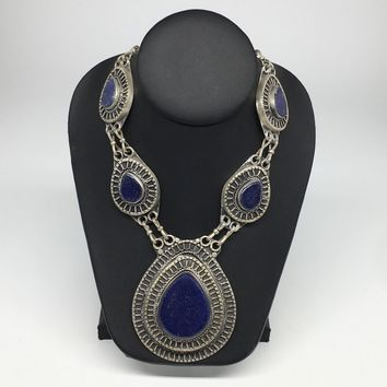 Turkmen Necklace Afghan Ethnic Tribal 5 Cab Lapis Lazuli Inlay Kuchi Necklace TN255