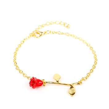 Final Rose Flower Chain Bracelet Beauty and The Beast Forever Love Rose Bracelet Gift for Women Wedding Bride Jewelry