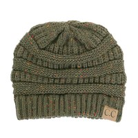 C.C. Exclusives Cable Knit Beanie in Speckled Olive HAT-33-OLIVE