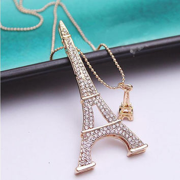 Eiffel Tower Necklace, two Eiffel Tower charms on Long Gold chain for Paris Lovers!