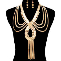 Gold EGYPTIAN OMEGA DRAPE TASSEL LINK CHAIN Statement Necklace & Earrings Set