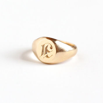 "Vintage Art Deco 10k Yellow Gold Letter ""E"" Signet Baby Ring - 1930s Size 1 Initial Monogrammed Personalized Midi Knuckle Fine Jewelry"