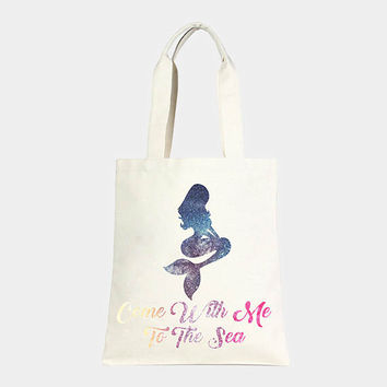 Ivory Multi-Color Mermaid Sealife Cotton Canvas Beach Tote, beach bag, shopper bag, come with me to the sea
