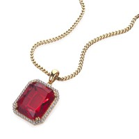 Fire Red Ruby Gem Pendant