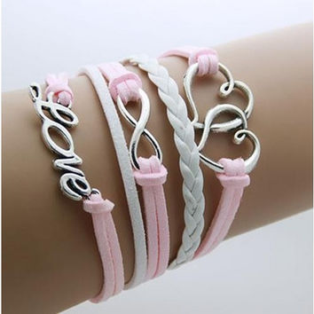 Hearth/Love - Pink Leather Wrap Infinity Bracelet