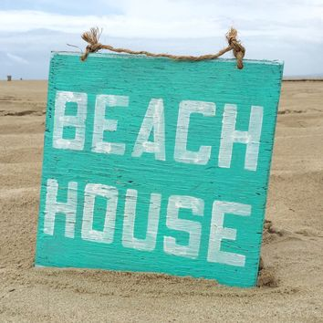 Beach House Wood Sign - Aqua