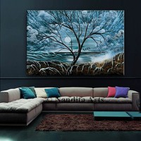 """Blue Landscape acrylic painting on canvas 60"""" Large painting Tree Wall Art Abstract Home Decor Modern art for sale by Contemporary art daily"""