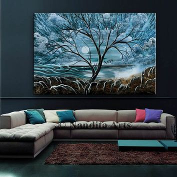 "Blue Landscape acrylic painting on canvas 60"" Large painting Tree Wall Art Abstract Home Decor Modern art for sale by Contemporary art daily"