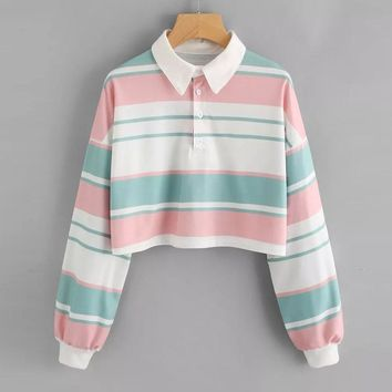 Harajuku Sweatshirt Women Striped Crop Top Hoodies Streetwear Autumn 2018 Woman Clothes Kawaii Korean Hoodie Moletom Feminino