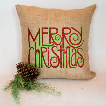 Swirly, twirly red glitter Merry Christmas on Sultana burlap pillow