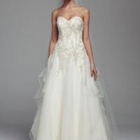 Strapless Beaded Organza Ball Gown - David's Bridal