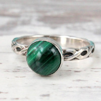 Green malachite ring sterling silver 3 mm wide braided pattern stackable Irish gaelic design band stacking stack ring handmade