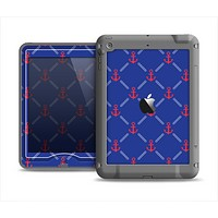 The Red & Blue Seamless Anchor Pattern Apple iPad Mini LifeProof Nuud Case Skin Set