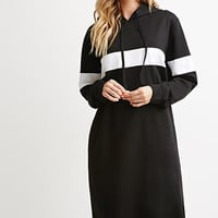 Casual Color Block Long Sleeve Hooded Midi Dress