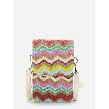 Chevron Flap Crossbody Bag