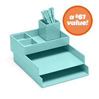 Desk organizers modern colorful desk from poppin school - Designer desk accessories and organizers ...