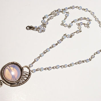 wire wrapped moonstone necklace-moonstone jewelry- wire wrapped jewelry handmade necklace-wire wrapped necklace