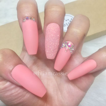 Set of Cute Pink Long Coffin with Rhinestone Designed | Summer Spring Prom Press on Nails