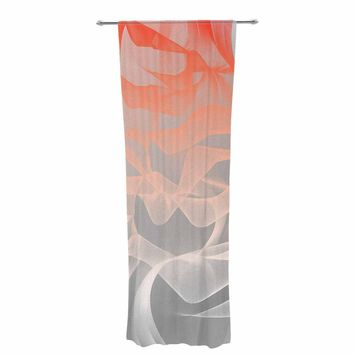"Rosa Picnic ""Indifference"" Coral Gray Abstract Contemporary Digital Vector Decorative Sheer Curtain"